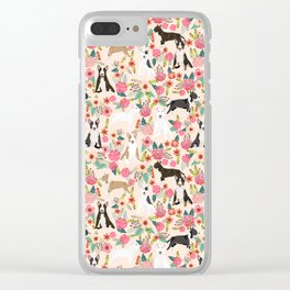 Bull Terrier dog breed pattern florals dog lover gifts pet friendly designs Clear iPhone Case