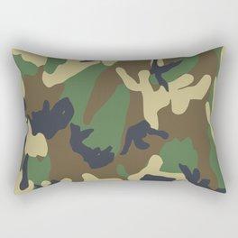 Brown and Green Camo Pattern Rectangular Pillow