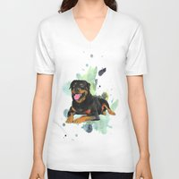 rottweiler V-neck T-shirts featuring Rottweiler happy by Cami Landia