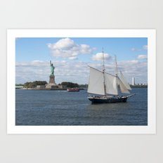 Lady Liberty at the harbor Art Print