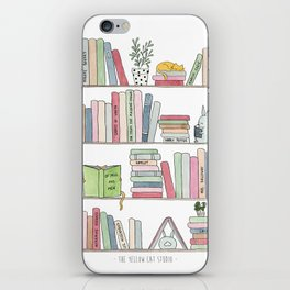 Bookshelf with cats - Watercolor illustration iPhone Skin