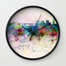 Luxembourg skyline in watercolor background Wall Clock