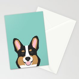 Tricolored Corgi cute corgi dog portrait custom dog art pet friendly dog head cell case Stationery Cards