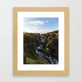 Lush Green Canyon River Bathed In Sunlight Framed Art Print