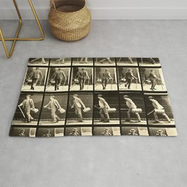 Eadweard Muybridge Photo Motion Study Man With Cane Hat And Bag Rug