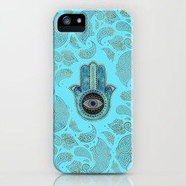 Hamsa Hand Hand of Fatima with paisley background iPhone Case