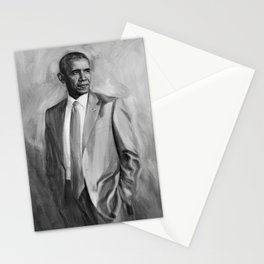 black and white Obama painting Stationery Cards