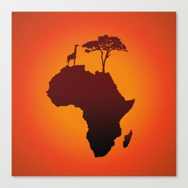 African Safari Map Silhouette Background Canvas Print
