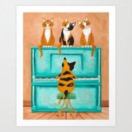 Piano Cats Art Print