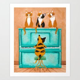 Piano Cats Art Print