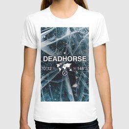 Deadhorse Alaska with World Globe Silhouette & Coordinates T-shirt