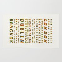 cities Area & Throw Rugs featuring Travel World Cities by Fimbis
