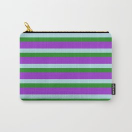 Dark Orchid, Powder Blue, and Forest Green Colored Lined Pattern Carry-All Pouch