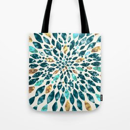 Glitter Dahlia in Gold, Aqua and Ocean Green Tote Bag