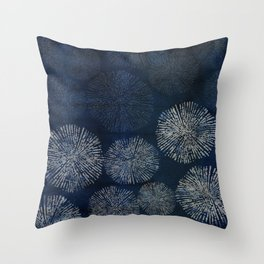 Denim Blue Shibori Sea Urchin Burst Pattern Throw Pillow