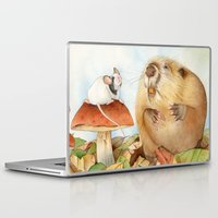 beaver Laptop & iPad Skins featuring Mouse & Beaver by Patrizia Donaera ILLUSTRATIONS