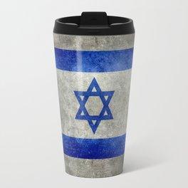 Israeli National Flag in grungy retro style שְׂרָאֵל Travel Mug