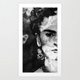 Black And White Frida Kahlo by Sharon Cummings Art Print
