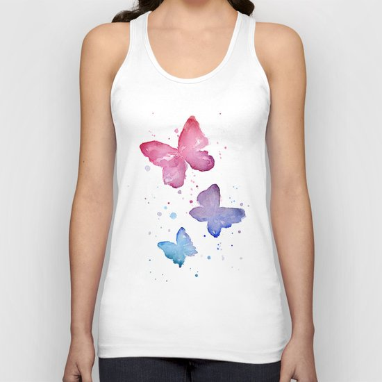 Butterflies Watercolor Abstract Splatters Unisex Tank Top