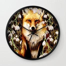 Peek-A-Boo Fox Wall Clock