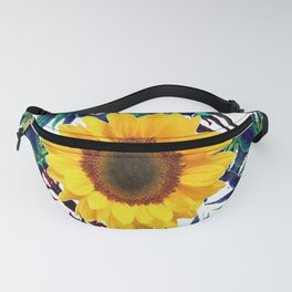 WHITE-GREEN TROPICAL PATTERNS YELLOW SUNFLOWER ART Fanny Pack