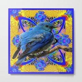 DECORATIVE BLUE BIRD IN GOLDEN ART Metal Print