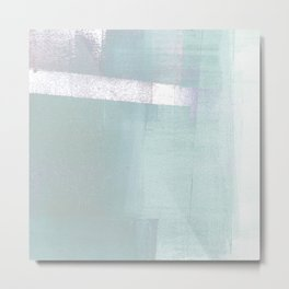 Aqua Blue Geometric Abstract Metal Print