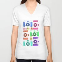 camera V-neck T-shirts featuring CAMERA by Laura Maria Designs