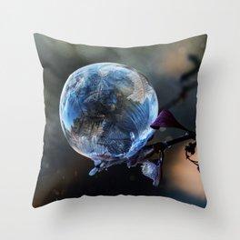 Blue frozen bubble Throw Pillow