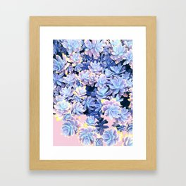 Cactus Fall - Blue and Pink Framed Art Print