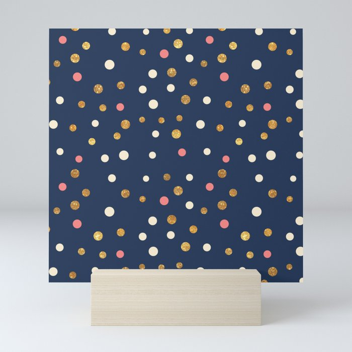 Hipster navy blue faux gold glitter modern polka dots Mini Art Print