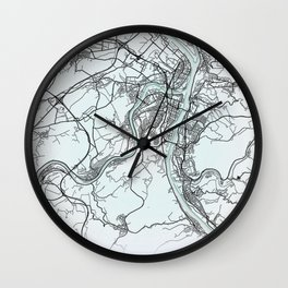 Koblenz, Germany, White, City, Map Wall Clock