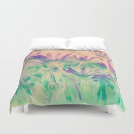 Dreamy Spring Lavender Daisy Flowers Duvet Cover