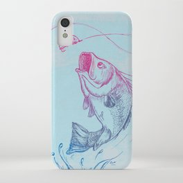 Bass jumping In Blue Circle3 iPhone Case