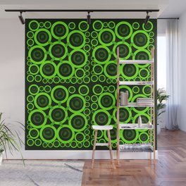 Green Rings on Black Background Wall Mural