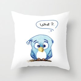 Funny owl Throw Pillow