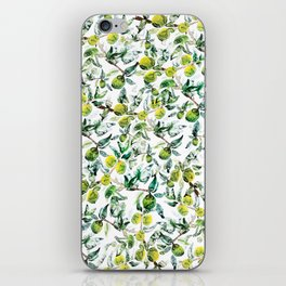 Lime Tree Branch Pattern Watercolor iPhone Skin
