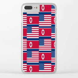 Mix of flag : USA and North Korea Clear iPhone Case