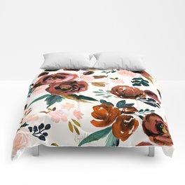Valentina Vintage Rust Rose Comforters