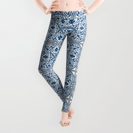 Old World Vintage Style Flower Tile pattern in Classic Blue and Warm Gray Leggings