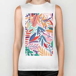 Modern abstract coral forest green floral illustration Biker Tank