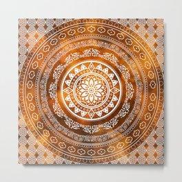 'Golden Destiny' Gold Orange & White Flower Of Life Boho Mandala Design Metal Print