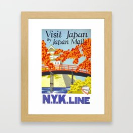Japan, vintage travel poster Framed Art Print