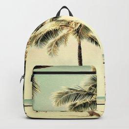 Retro Vintage Palm Tree with Hawaii Summer Sea Beach Backpack