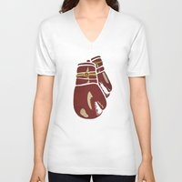boxing V-neck T-shirts featuring Power Boxing by Lucas Scialabba :: Palitosci