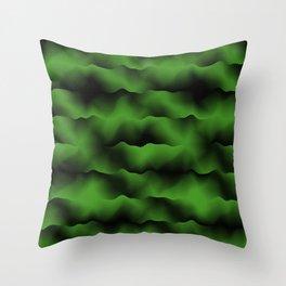 Emerald Green Waves Throw Pillow