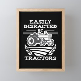 Funny Farming Distracted by Tractors lover Farmer Framed Mini Art Print
