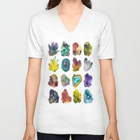 crystals V-neck T-shirts featuring Crystals by ShannonPosedenti