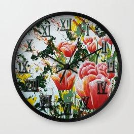 Edge of a tulip garden Wall Clock
