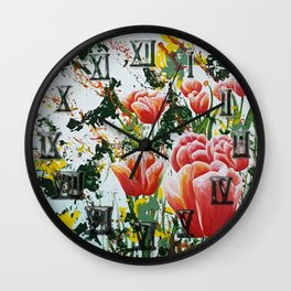 Edge of a tulip garden Wall Clock